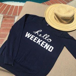 """GAP """"Hello Weekend"""" Blue & White Crew Neck Sweater"""